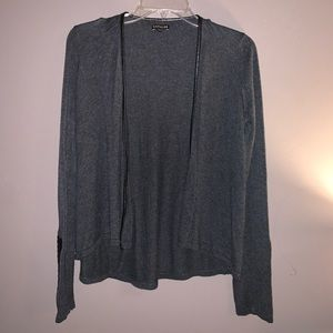 Grey cardigan with detailed pleather sleeves